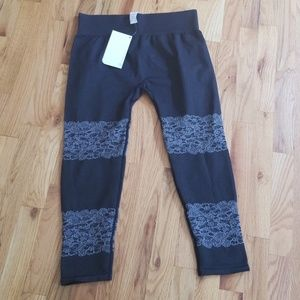 Blackish gray Fabletics leggings  with lace overla